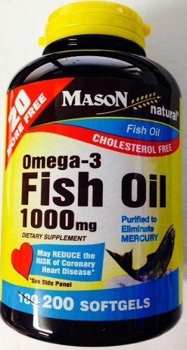 Mason Vitamins Omega 3 Fish Oil 1000mg. Softgels Bonus Size 200-Count Bottle