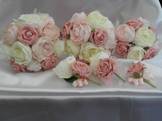 wedding bouquet peony & rose package  pink ivory peonies