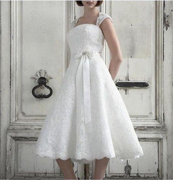 2014 Hot Sale White Ivory A Line Tea Length Cap Sleeve