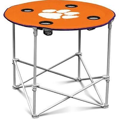 Round Table Clemson Tiger Folding Camping NCAA Portable Tailgate Orange 30 Inch