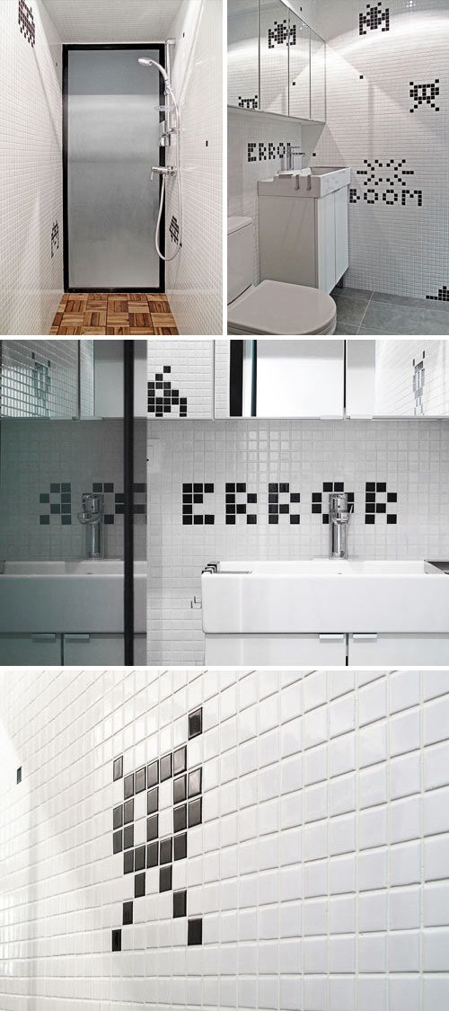 Geek style! Space invaders bathroom from Design Milk