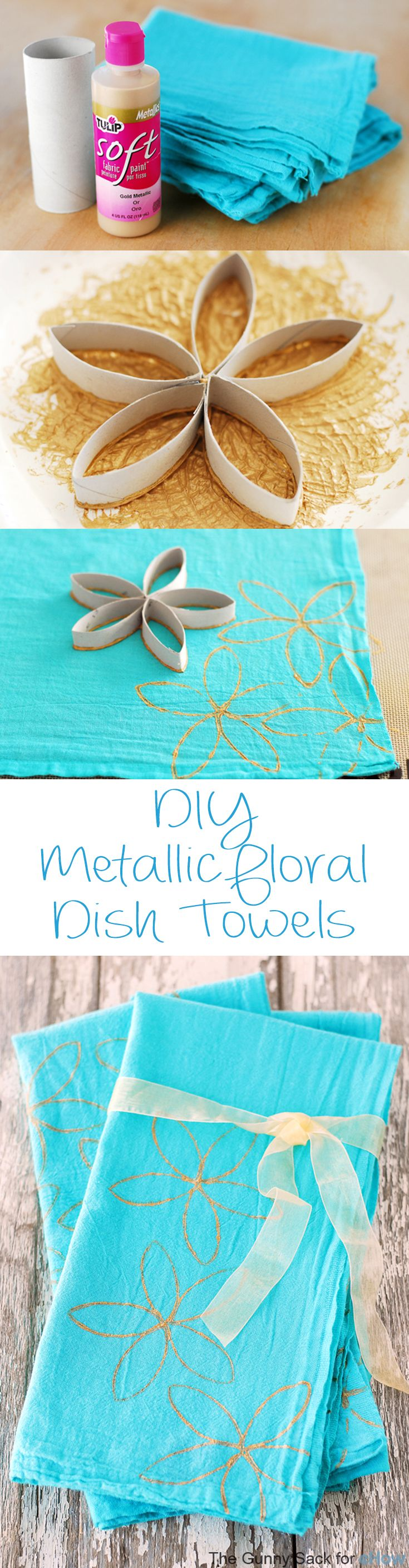 Super easy and customized dish towels. #spring #diy