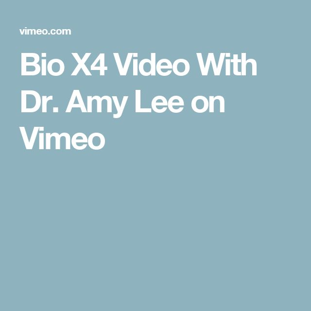 Bio X4 Video With Dr. Amy Lee on Vimeo