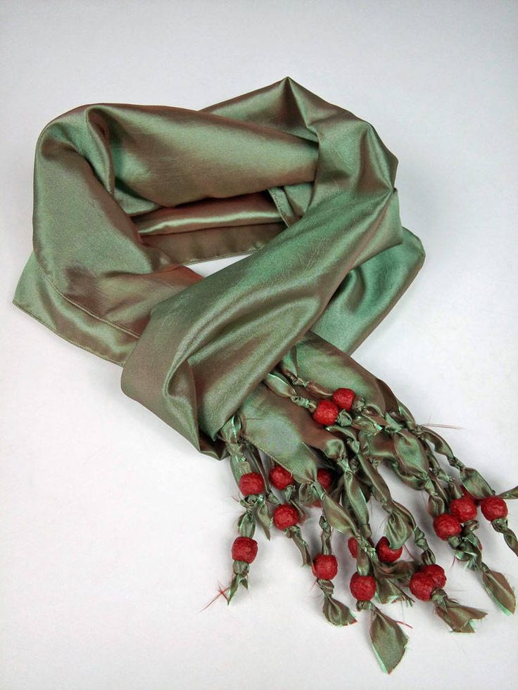 Deep Sage Green Taffeta Pleated Silk Scarf, Neckerchief Scarf, Abstract Shabby Chic Scarf, Handmade Scarves Mens, Womens Mens Gift by SilkFantazi on Etsy