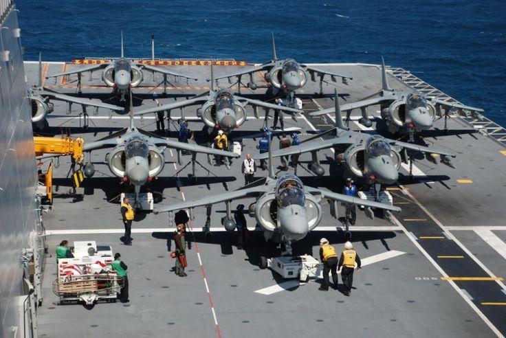 Spanish Navy EAV-8B Matador II aircraft on deck