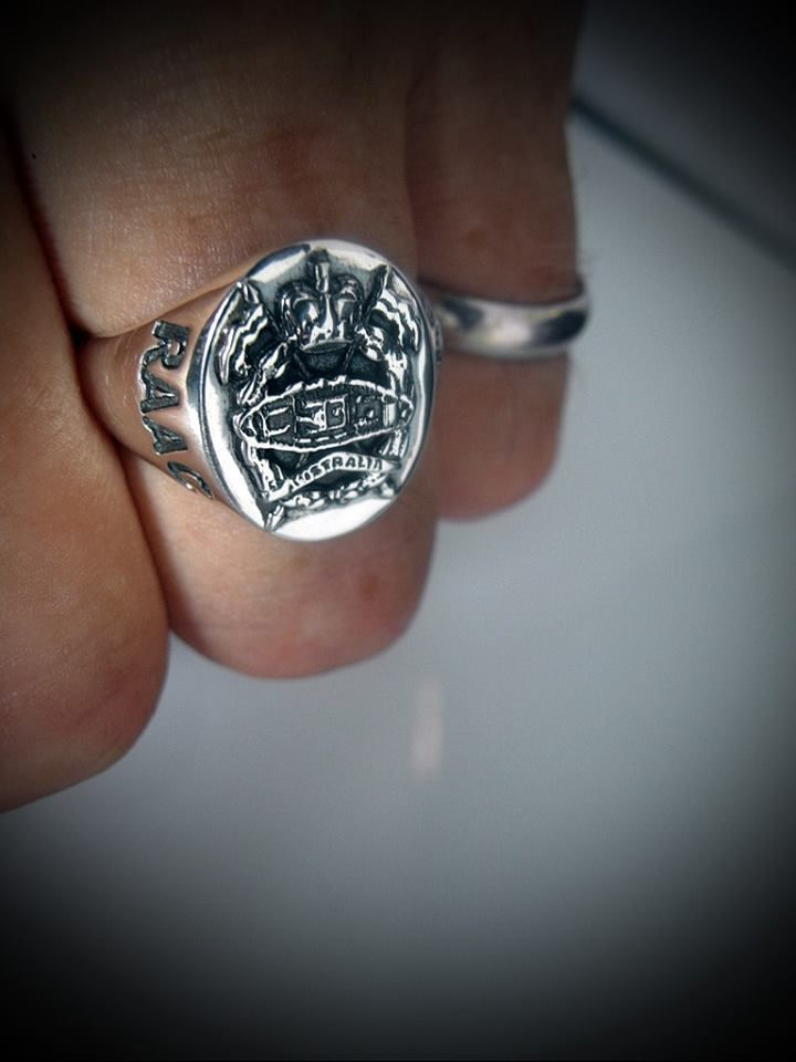 Australian Army Armoured Regiment Oxidized Silver Ring