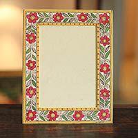 Madhubani photo frame, 'Flowers of India' (5x7)