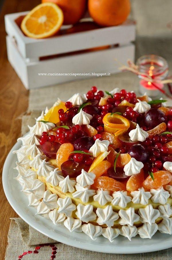 Torta delle feste con pere caramellate e frutta fresca | Cucina Scacciapensieri