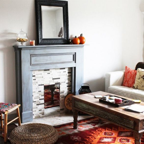 5 Ways To Fake A Fireplace Mantel Infarrantly Creative Faux Fireplace Fireplace Mantels Home Decor