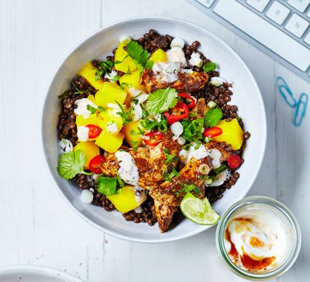 A fruity chicken salad with lentils and spice to make lunchtimes worth taking a break for