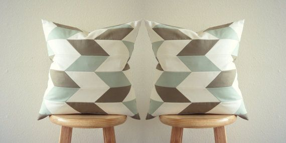 Pillow Set of 2 Limited Edition Pastel Pillow Covers l Chevron Pillow Covers (16X16 inches) | GeometricElectric Handmade Modern Home Decor
