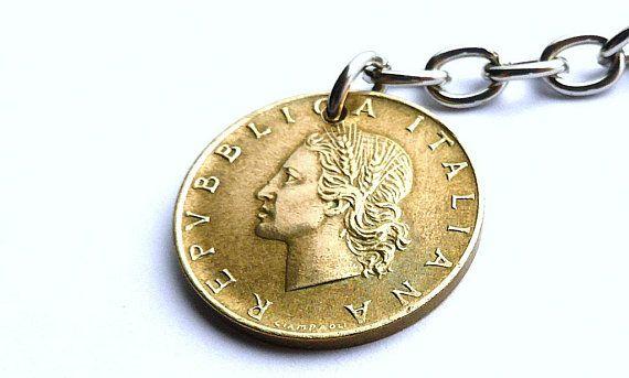 Italian, Purse charm, 1979, Vintage charm, Coin charm, Vintage keychain, Italian keychain, Gifts under 20, Coin jewelry, Coins, Charm, Italy