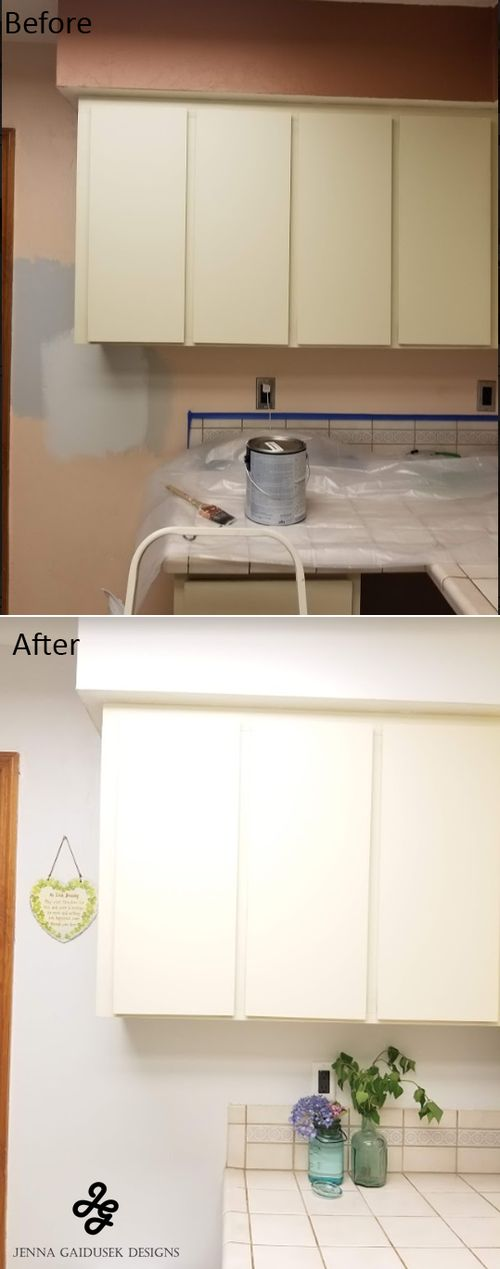 Paint before and after HGTV sherwin williams nebulous white. Before and after kitchen diy project! I used peel and stick wallpaper to create an awesom…