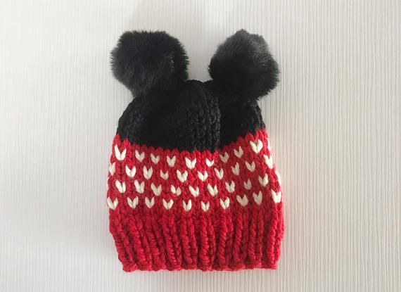 Disney Hat / Minnie Mouse Hat / Minnie Mouse Accessory / Slouch Knit Hat / Chunky Winter Hat / Women's Winter Hat / Knitted Hat / Pom Pom