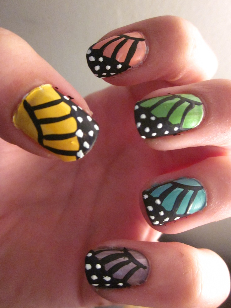 spring time monarch butterfly nails :)
