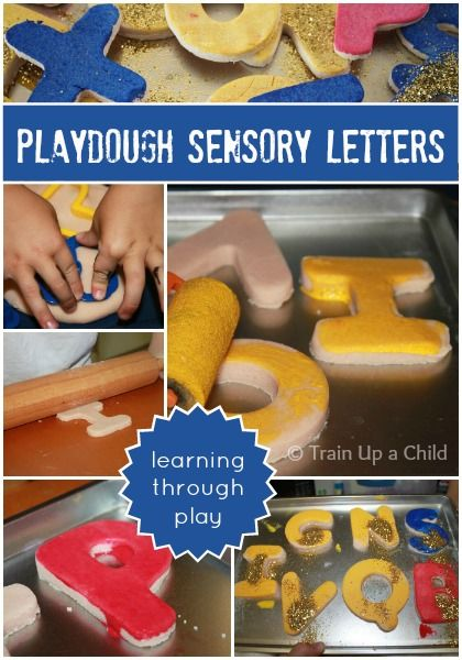Painting Playdough Letters - Sensory Letters and Fine Motor Play - A great way to use up old playdough and learn through play.  This can be a tool to introduce letters, sounds, letter formation and much more!