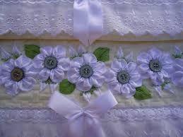 Resultado de imagem para bordado de fita em toalha