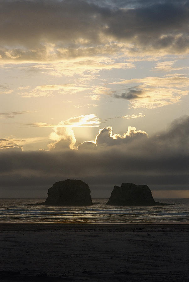 Sunset at Netarts Bay Oregon at low