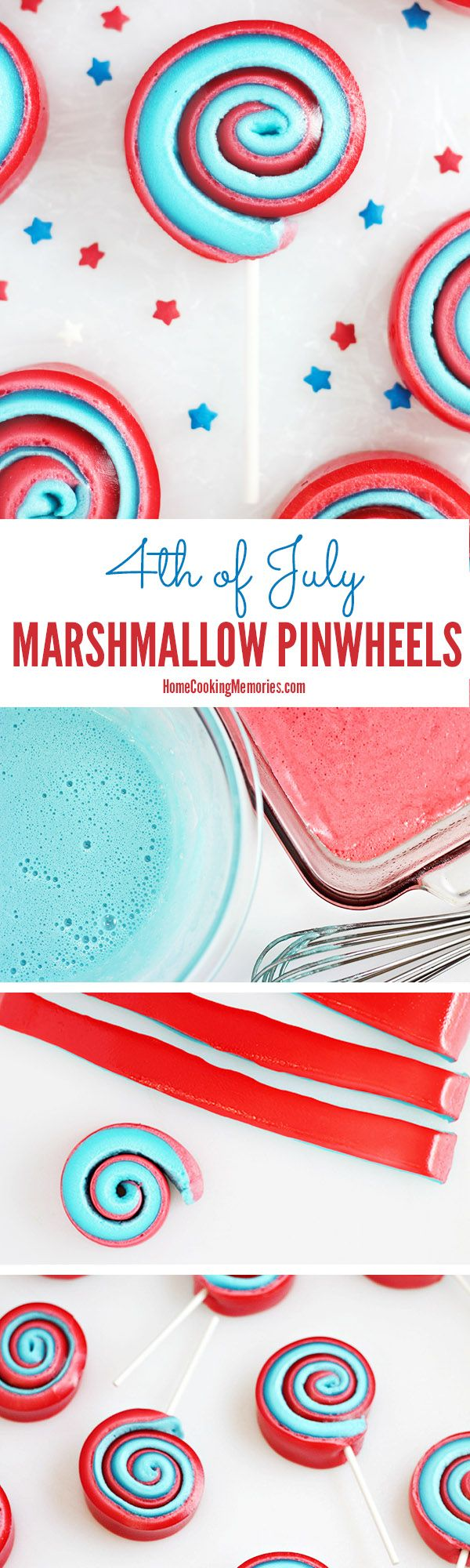 These are so fun! 4th of July Marshmallow Pinwheels - a sweet treat-on-a-stick that the kids will love! You only need 5 things: 2 colors of Jello, plus mini marshmallows, water & lollipop sticks. EASY!