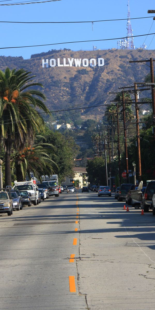 Hollywood - it's a city where a lot of movies and shows are made, so a lot of famous actors and actresses live and work here. The sign on the hill is pretty famous too.