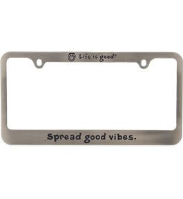 "All Things Jeep - Life is good License Plate Frame ""Spread Good Vibes"""
