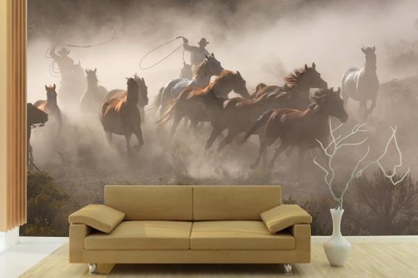 cowboy amp horses wall mural www pricklypearcasa com wallpaper murals for walls horse images