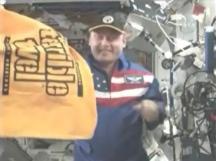 """FTOP: """"The Terrible Towel in space with Pittsburgh born astronaut Mike Fincke."""" I wonder how the towel swirls in zero gravity."""