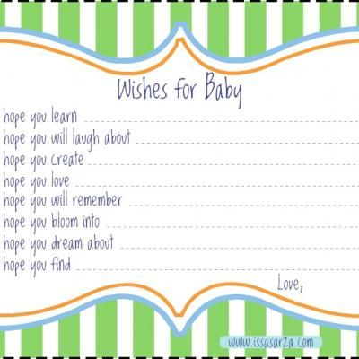 wishes for baby printable template - wishes for baby template i may just make my own on word