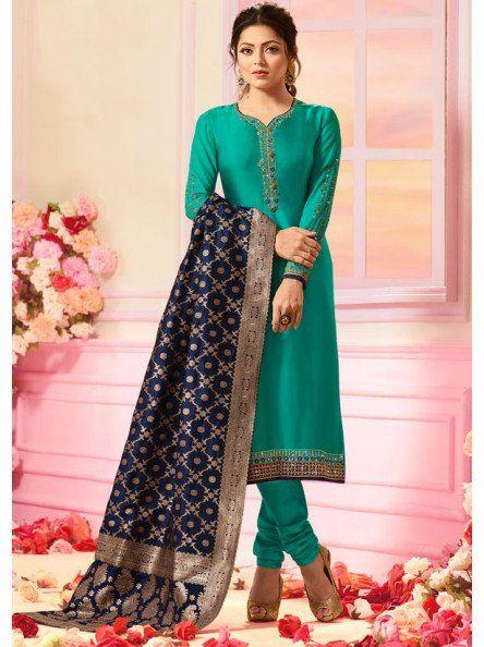 540416e8e3 Drashti Dhami Rama Green Satin Georgette Suit with Heavy Dupatta | clothes  | Churidar, Churidar suits, Suits