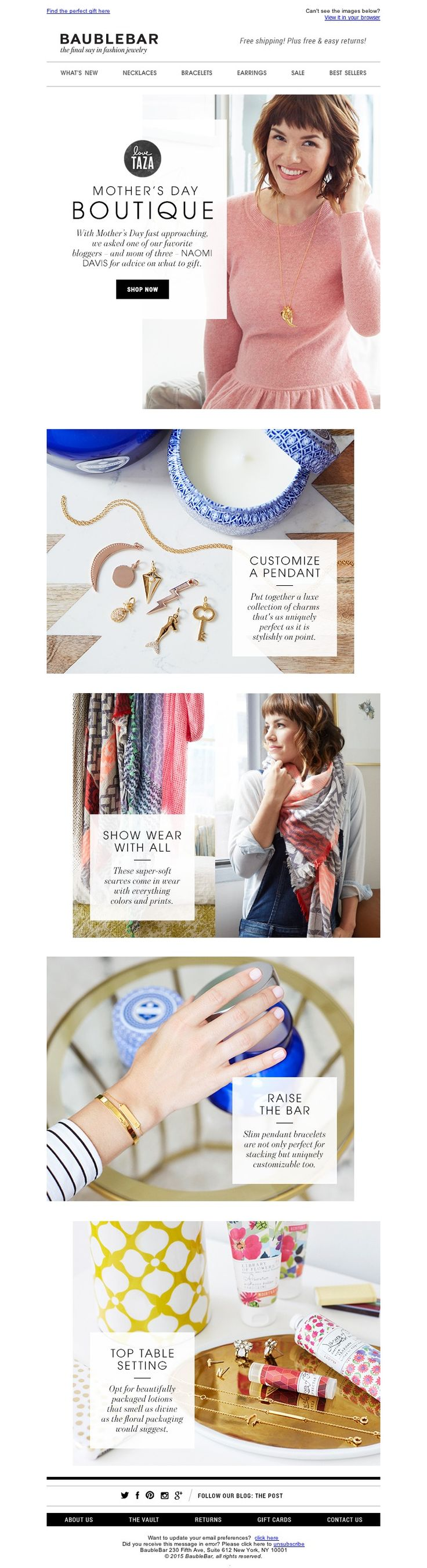 BaubleBar Mother's Day email layout