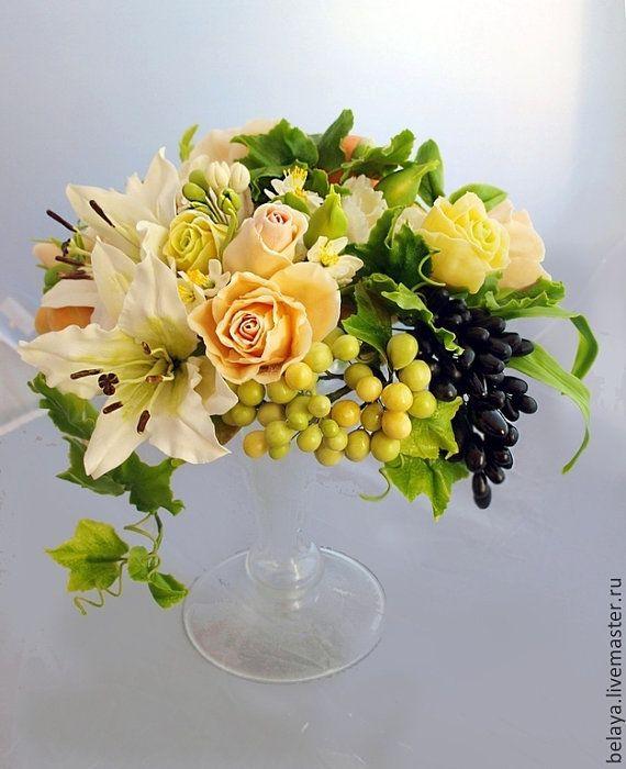 Flower Arrangement cold porcelain fruit by ColdPorcelaine on Etsy
