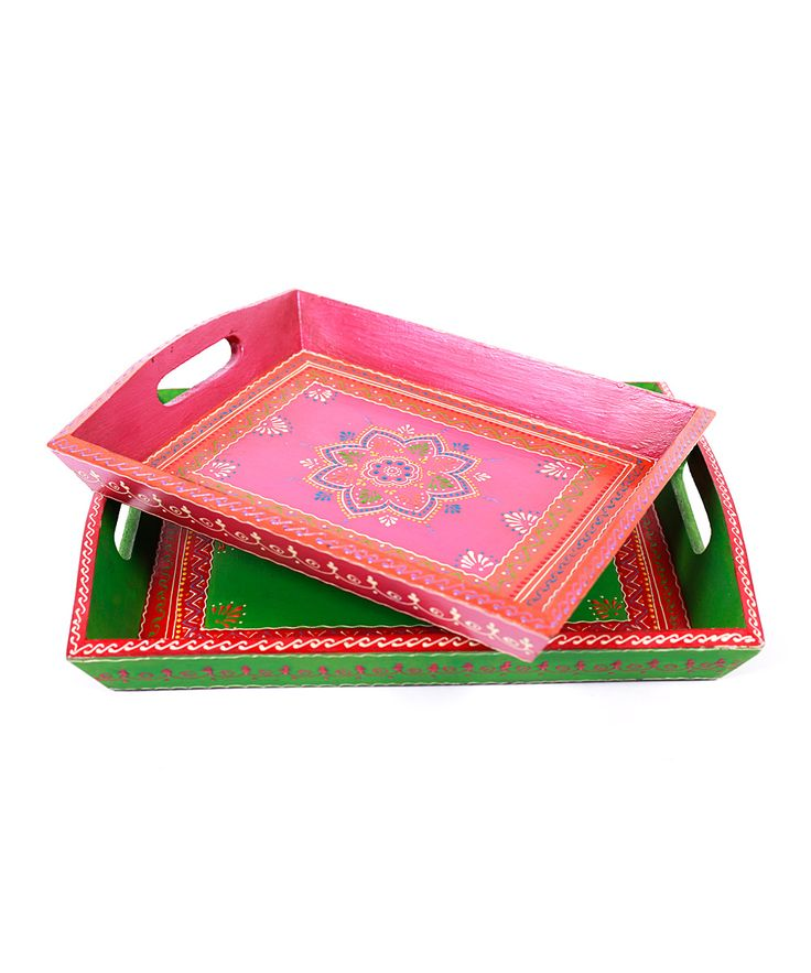 Pink Hand-Painted Tray Set | Daily deals for moms, babies and kids