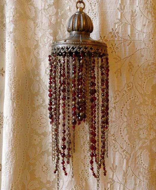 Beaded lampshade cast iron red and gold beads by immortalkraft: Beads Lampshades, Lampshades Cast, Gold Beads, Irons Red, Irons Lampshades, Lights Decor, Lamps Shades Windchimes, Cast Irons, Lamps Beads