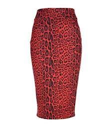 Red animal print scuba pencil skirt €20 00