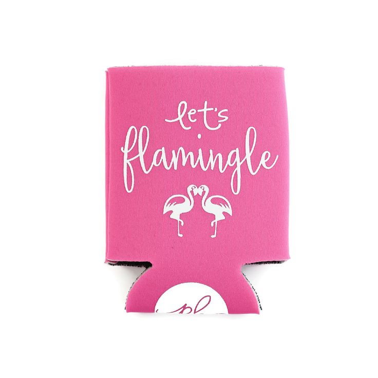 funny bachelorette party sayings for invitations%0A Can Cooler Drink Holder Let u    s Flamingle Pink by PaperBerryPress