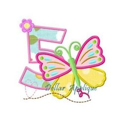 Butterfly Number 5 Applique - 3 Sizes! | What's New | Machine Embroidery Designs | SWAKembroidery.com Dollar Applique