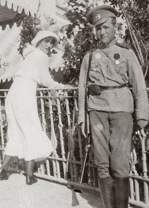 Grand Duchess Anastasia Nikolaevna and her brother Tsarevich Alexei Nikolaevich of Russia, photograph taken during WWI.