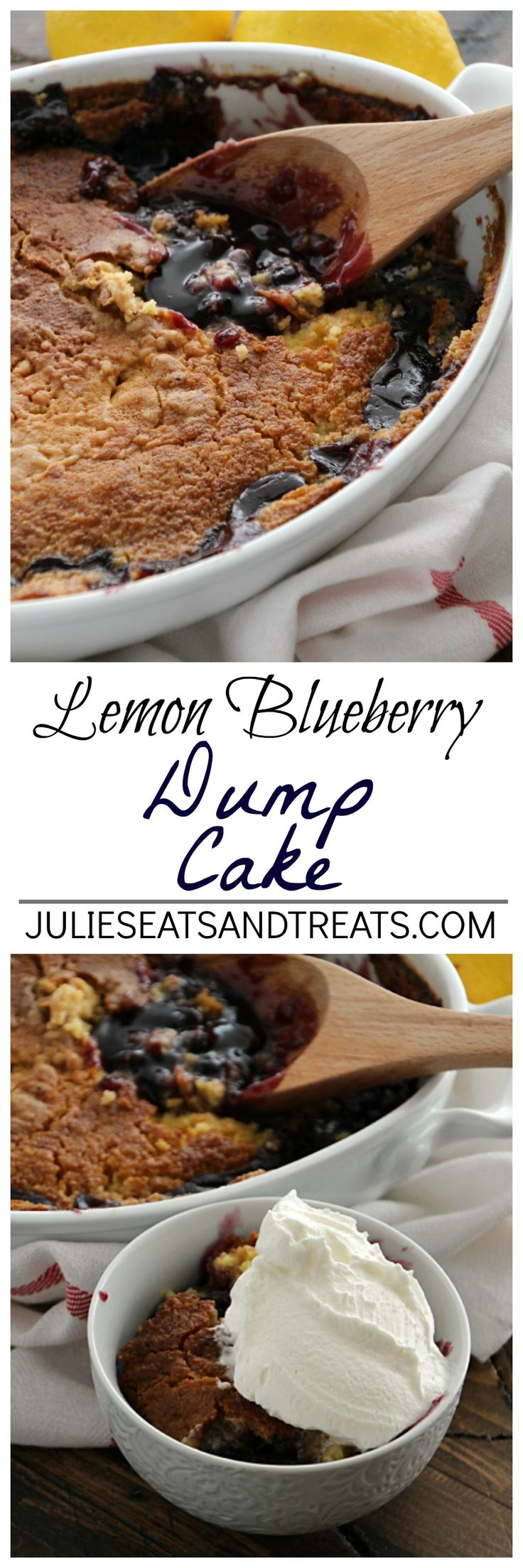 Lemon Blueberry Dump Cake ~ Quick & Easy Dessert Loaded with Blueberry Pie Filling and topped with Lemon Cake! Only Three Ingredients! ~ http://www.julieseatsandtreats.com