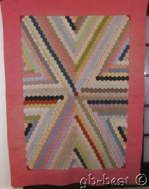 Stunning c 1930s Honeycomb Vintage Quilt SUPER Inverted X Small Pieces