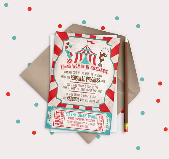 LDS Young Women in Excellence DIGITAL invitation OR New Beginnings invite -  Circus or Carnival theme c3db146705