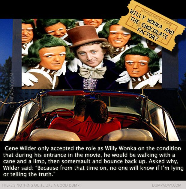 Willy Wonka | Gene Wilder | Dump A Day Quick Movie Facts You Probably Didn't Know - 21 Pics