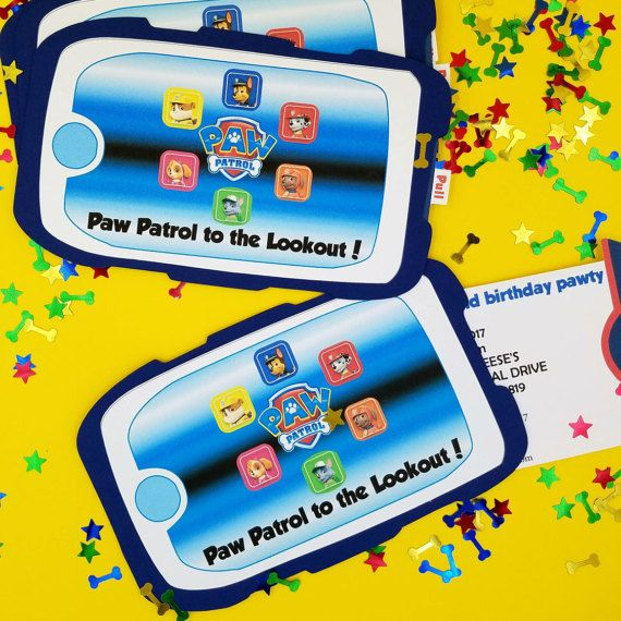 Paw Patrol Invitations, Paw Patrol Birthday Invitation. Paw Patrol party, Paw Patrol Pup Pad Invitation, Pup Pad, Pull Out Invitation Party