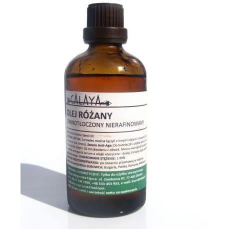 Olej Różany Zimnotłoczony Nierafinowany - Wypróbuj go w kosmetykach anti-age, do cery zniszczonej, podrażnionej. Zmniejsza widoczność blizn, przyspiesza gojenie się skóry, zapobiega rozstępom.