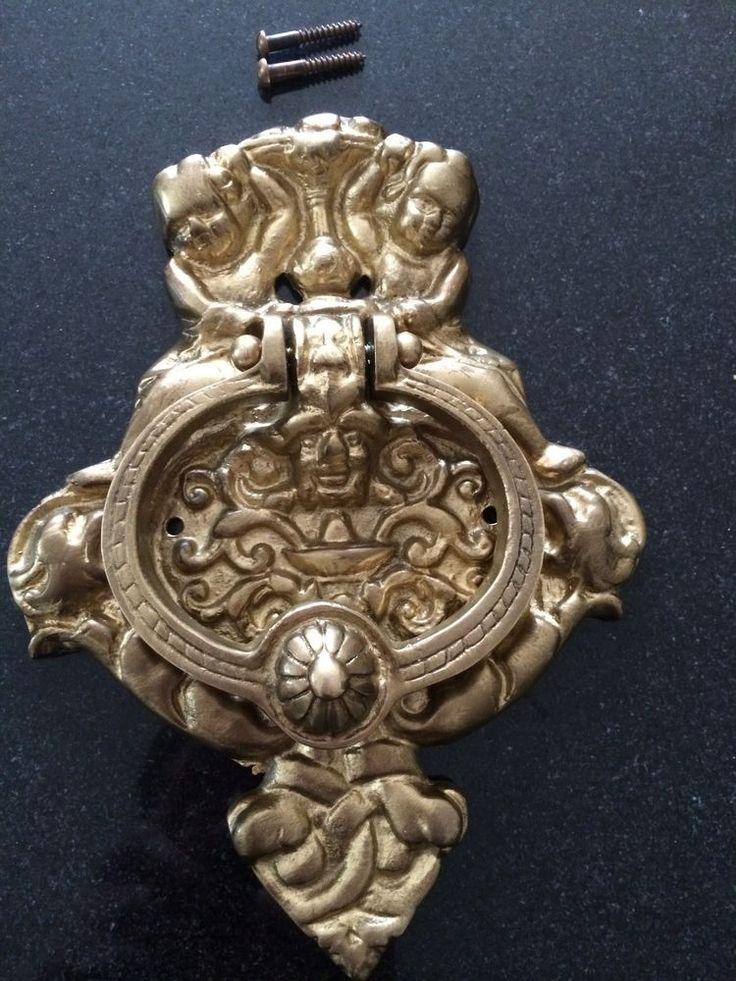 Superb Antique Gothic Victorian Vintage Solid Brass Large Door Knocker Cherubs  Gargoyle