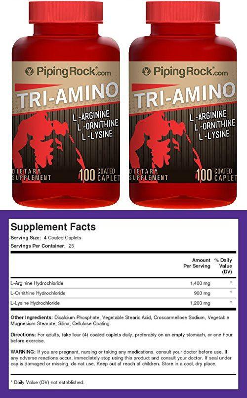 Piping Rock Tri Amino L Arginine L Ornithine L Lysine 2 Bottles X