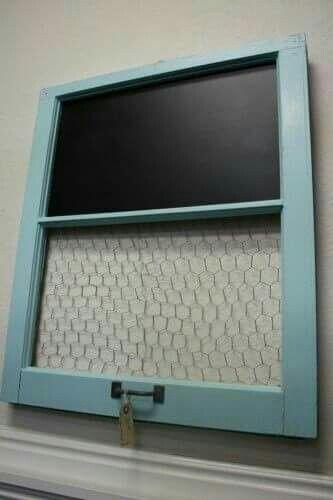 Old window chicken wire chalkboard