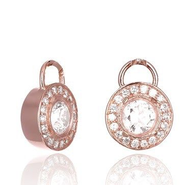 EAR CHARMS KAGI ORBIT DROPS 18CT ROSE GOLD PLATED CLEAR CUBIC ZIRCONIA 1.2CM - Jons Family Jewellers