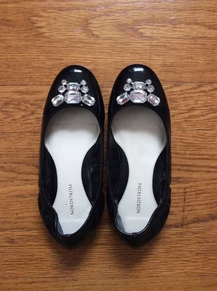 NORDSTROM GIRLS' BLACK PATENT LEATHER FLAT SHOES SIZE 13 #Flats