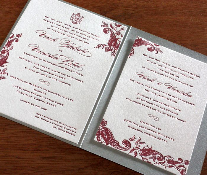 Sindhu Letterpress Wedding Invitation By Invitations Ajalon Design Pinterest Letterpresses Sets And