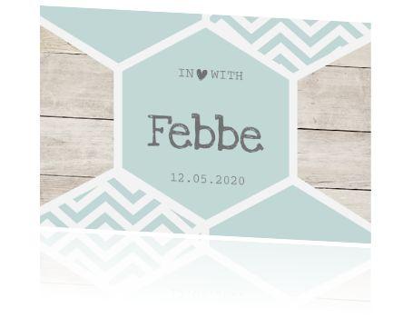 Rustig enkel geboortekaartje? Een klassiek babykaartje voor een jongen met hout en honingraad in een mint groene tint. Alles staat los op dit geboortekaartje en is aan te passen!